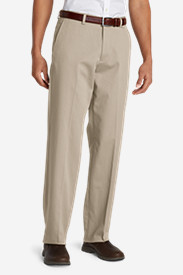 White Pants for Men: Men's Performance Dress Flat-Front Khaki Pants - Relaxed Fit