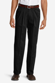Relaxed Fit Dress Pants for Men: Men's Wrinkle-Free Relaxed Fit Pleated Performance Dress Khaki Pants