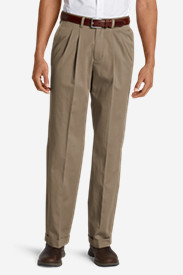 Cotton Pants for Men: Men's Wrinkle-Free Relaxed Fit Pleated Performance Dress Khaki Pants