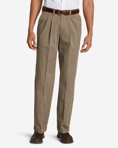 Eddie Bauer Wrinkle-Free Relaxed Fit Pleated Performance Dress Khaki Pants