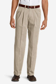 Men's Wrinkle-Free Relaxed Fit Pleated Performance Dress Khaki Pants