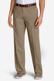 Men's Wrinkle-Free Relaxed Fit Comfort Waist Flat Front Performance Dress Khaki Pants