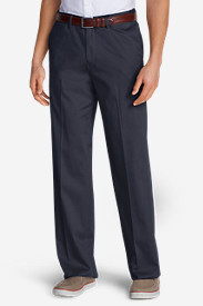Big & Tall Dress Pants for Men: Men's Wrinkle-Free Relaxed Fit Comfort Waist Flat Front Performance Dress Khaki Pants
