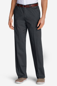 Dress Pants for Men: Men's Wrinkle-Free Relaxed Fit Comfort Waist Flat Front Performance Dress Khaki Pants