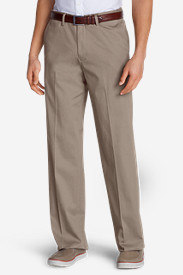 White Pants for Men: Men's Wrinkle-Free Relaxed Fit Comfort Waist Flat Front Performance Dress Khaki Pants