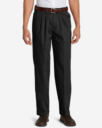 Black Dress Pants for Men: Men's Performance Dress Comfort Waist Pleated Khaki Pants - Relaxed Fit