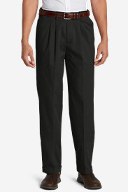Dress Pants for Men: Men's Performance Dress Comfort Waist Pleated Khaki Pants - Relaxed Fit
