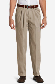 White Pants for Men: Men's Performance Dress Comfort Waist Pleated Khaki Pants - Relaxed Fit