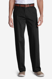 Black Big & Tall Trousers for Men: Men's Causal Performance Chino Flat-Front Pants - Relaxed Fit