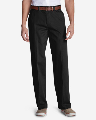 Black Dress Pants for Men: Men's Wrinkle-Free Relaxed Fit Flat Front Casual Performance Chino Pants