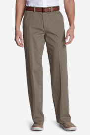 Men's Causal Performance Chino Flat-Front Pants - Relaxed Fit