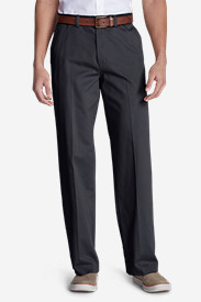 Cotton Pants for Men: Men's Casual Performance Chino Flat-Front Pants - Relaxed Fit