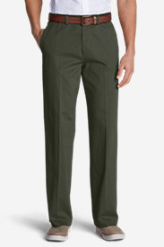 Green Pants for Men: Men's Casual Performance Chino Flat-Front Pants - Relaxed Fit