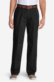 Black Big & Tall Trousers for Men: Wrinkle-Free Relaxed Fit Pleated Causal Performance Chino Pants