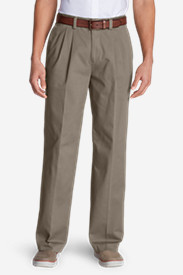 Cotton Pants for Men: Men's Wrinkle-Free Relaxed Fit Pleated Casual Performance Chino Pants