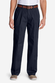 Blue Khaki Pants for Men: Men's Wrinkle-Free Relaxed Fit Pleated Casual Performance Chino Pants