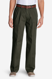 Green Pants for Men: Men's Wrinkle-Free Relaxed Fit Pleated Casual Performance Chino Pants