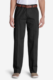 Black Big & Tall Trousers for Men: Wrinkle-Free Relaxed Fit Comfort Waist Flat Front Causal Performance Chino Pants
