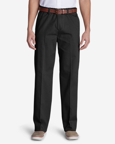 Black Dress Pants for Men: Men's Wrinkle-Free Relaxed Fit Comfort Waist Flat Front Casual Performance Chino Pants