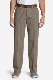 Cotton Pants for Men: Men's Wrinkle-Free Relaxed Fit Comfort Waist Flat Front Casual Performance Chino Pants
