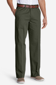 Green Pants for Men: Men's Wrinkle-Free Relaxed Fit Comfort Waist Flat Front Casual Performance Chino Pants