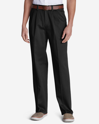 Black Dress Pants for Men: Men's Wrinkle-Free Relaxed Fit Comfort Waist Casual Performance Chino Pants