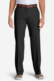 Black Big & Tall Trousers for Men: Men's Causal Performance Chino Flat-Front Pants - Classic Fit