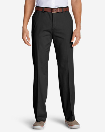 Black Dress Pants for Men: Men's Wrinkle-Free Classic Fit Flat-Front Casual Performance Chino Pants