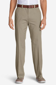 Cotton Pants for Men: Men's Casual Performance Chino Flat-Front Pants - Classic Fit