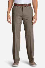 Tapered Dress Pants for Men: Men's Casual Performance Chino Flat-Front Pants - Classic Fit