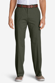 Green Pants for Men: Men's Casual Performance Chino Flat-Front Pants - Classic Fit