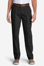 Black Big & Tall Trousers for Men: Wrinkle-Free Classic Fit Pleated Causal Performance Chino Pants