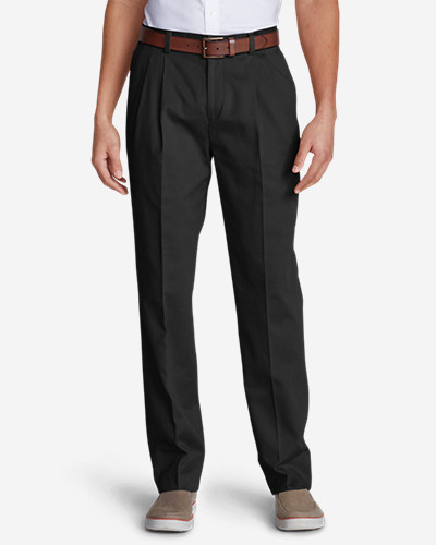 Black Dress Pants for Men: Men's Wrinkle-Free Classic Fit Pleated Casual Performance Chino Pants
