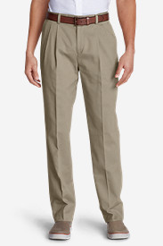 Cotton Pants for Men: Men's Wrinkle-Free Classic Fit Pleated Casual Performance Chino Pants
