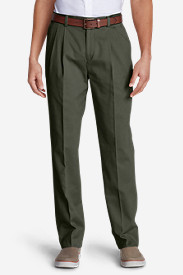 Green Pants for Men: Men's Wrinkle-Free Classic Fit Pleated Casual Performance Chino Pants