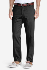 Black Big & Tall Trousers for Men: Men's Winkle-Free Slim Fit Flat-Front Performance Dress Khaki Pants