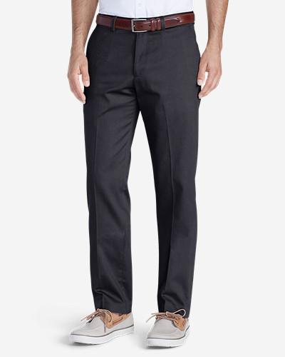 Men s Wrinkle-free Slim Fit Flat-front Performance Dress Khaki Pants ... 3fc430491