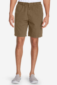 Brown Khaki Shorts for Men: Men's Legend Wash Elastic Waist Chino Shorts