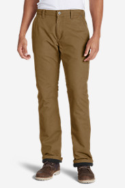 Cotton Pants for Men: Men's Lined Canvas Mountain Pants