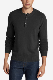 Black Shirts for Men: Men's Signature Cotton Henley Sweater