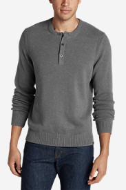 Gray Sweaters & Sweatshirts for Men: Men's Signature Cotton Henley Sweater