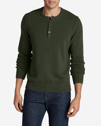 Green Shirts for Men: Men's Signature Cotton Henley Sweater