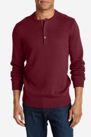 Red Sweaters & Sweatshirts for Men: Men's Signature Cotton Henley Sweater