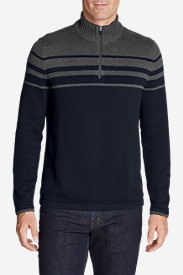 Men's Signature Cotton Variegated 1/4-Zip Mock Sweater
