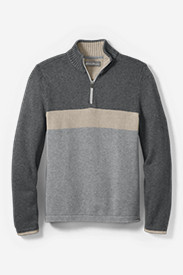 Men's Signature Cotton 1/4-Zip Mock Sweater - Color Blocked