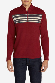 Red Sweaters & Sweatshirts for Men: Men's Long-Sleeve Sidecut 1/4-Zip Sweater