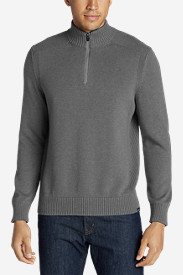 Gray Sweaters & Sweatshirts for Men: Men's Signature Cotton 1/4-Zip Sweater