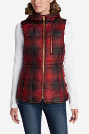 Red Vests: Women's Yukon Classic Down Vest - Plaid