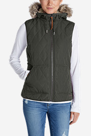 Green Plus Size Vests for Women: Women's Snowfurry Hooded Vest