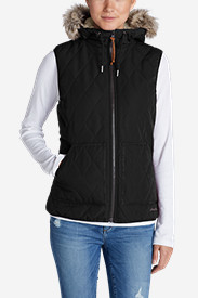 Black Vests: Women's Snowfurry Hooded Vest